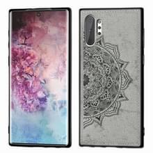 Reliëf Mandala patroon magnetische PC + TPU + stof schokbestendig geval voor Galaxy Note10 +  met Lanyard (grijs)