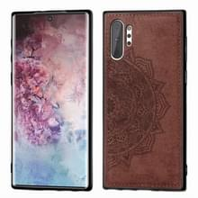 Reliëf Mandala patroon magnetische PC + TPU + stof schokbestendig geval voor Galaxy Note10 +  met Lanyard (bruin)
