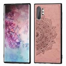 Reliëf Mandala patroon magnetische PC + TPU + stof schokbestendig geval voor Galaxy Note10 +  met Lanyard (Rose Gold)