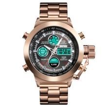 SKMEI 1515 mannen mode hip hop stijl Dual display elektronische horloge roestvrijstalen horloge (Rose goud)
