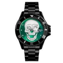 SKMEI 9195 mode water-ingelegde boor schedel nachtlampje waterdichte quartz horloge stalen strip horloge voor mannen (zwart groen)