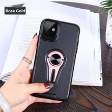Antislip Y-vormige TPU mobiele telefoon hoes met roterende autobeugel voor iPhone 11 (Rose Gold)