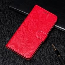 Lace bloem reliëf patroon horizontale Flip lederen case voor Galaxy Note10  met houder & kaartsleuven & portemonnee & foto frame & Lanyard (rood)