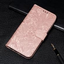Lace bloem reliëf patroon horizontale Flip lederen case voor Galaxy Note10 +  met houder & kaartsleuven & portemonnee & foto frame & Lanyard (Rose goud)
