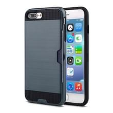 iPhone 7 Plus & 8 Plus ultra-dun geborstelde structuur TPU + Kunststof back cover Hoesje met opbergruimte voor pinpas (marine blauw)