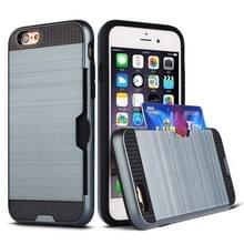 Ultradunne TPU + PC geborsteld textuur schokbestendige beschermhoes met kaartsleuf voor iPhone 6/6s (marineblauw)