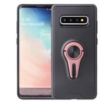 Non-slip Y-vormige TPU mobiele telefoon geval met roterende auto beugel voor Galaxy S10 (Rose Gold)