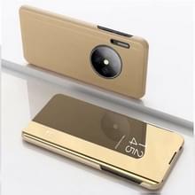 Voor Huawei mate 30 plating spiegel linker en rechter Flip cover met beugel holster (goud)