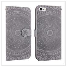 Voor iPhone 6 ingedrukt afdrukken patroon horizontale Flip PU lederen draagtas  met houder & kaartsleuven & portemonnee & & Lanyard (grijs)