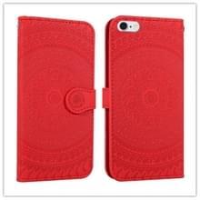 Voor iPhone 6s plus gedrukt afdruk patroon horizontale Flip PU lederen draagtas  met houder & kaartsleuven & portemonnee & & Lanyard (rood)