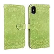 Voor iPhone X/XS gedrukt afdrukken patroon horizontale Flip PU lederen draagtas  met houder & kaartsleuven & portemonnee & & Lanyard (groen)