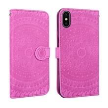 Voor iPhone X/XS gedrukt afdrukken patroon horizontale Flip PU lederen draagtas  met houder & kaartsleuven & portemonnee & & Lanyard (violet)