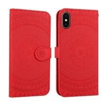Voor iPhone X/XS geperst Print patroon horizontale Flip PU lederen draagtas  met houder & kaartsleuven & portemonnee & & Lanyard (rood)