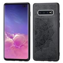 Voor Galaxy S10+ Embosed Mandala Pattern PC + TPU + Fabric Phone Case met Lanyard & Magnetic(Black)
