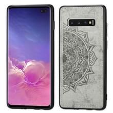 Voor Galaxy S10+ Embosed Mandala Pattern PC + TPU + Fabric Phone Case met Lanyard & Magnetic(Gray)