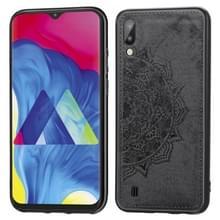 Voor Galaxy M10 Embossed Mandala Pattern PC + TPU + Fabric Phone Case met Lanyard & Magnetic(Black)