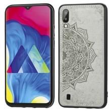 Voor Galaxy M10 Embossed Mandala Pattern PC + TPU + Fabric Phone Case met Lanyard & Magnetic(Gray)