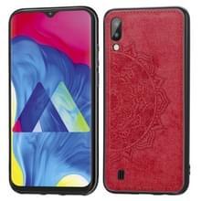 Voor Galaxy M10 Embossed Mandala Pattern PC + TPU + Fabric Phone Case met Lanyard & Magnetic(Red)