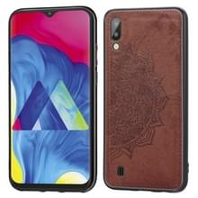 Voor Galaxy M10 Embossed Mandala Pattern PC + TPU + Fabric Phone Case met Lanyard & Magnetic(Brown)