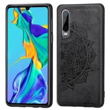 Voor Huawei P30 Embossed Mandala Pattern PC + TPU + Fabric Phone Case met Lanyard & Magnetic(Black)