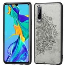 Voor Huawei P30 Embossed Mandala Pattern PC + TPU + Fabric Phone Case met Lanyard & Magnetic(Gray)