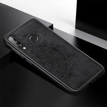 Voor Huawei P30 Lite & Nova 4E Embossed Mandala Pattern PC + TPU + Fabric Phone Case met Lanyard & Magnetic(Black)