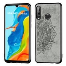 Voor Huawei P30 Lite & Nova 4E Embossed Mandala Pattern PC + TPU + Fabric Phone Case met Lanyard & Magnetic(Gray)