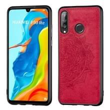 Voor Huawei P30 Lite & Nova 4E Embossed Mandala Pattern PC + TPU + Fabric Phone Case met Lanyard & Magnetic(Red)