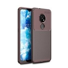 Voor Nokia 7 2 Carbon Fiber textuur schokbestendig TPU case (bruin)