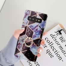 Voor Galaxy S10 plus plating kleurrijke geometrische patroon mozaïek marmer TPU mobiele telefoon geval Rhinestone stand ring (zwart PR6)