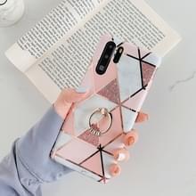 Voor Huawei P30 Pro plating kleurrijke geometrische patroon mozaïek marmer TPU mobiele telefoon geval Rhinestone stand ring (roze PR1)
