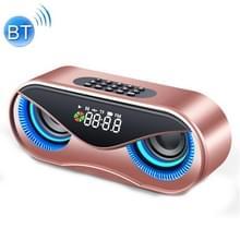 M6 draagbare Bluetooth 5 0 speaker Owl wekker draadloze 6D Surround Sound Stereo Speaker ondersteuning TF AUX FM radio (rosé goud)