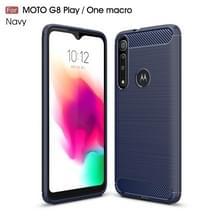 Voor Moto G8 Play Geborstelde textuur Koolstofvezel TPU Case (Navy Blue)