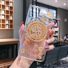 Voor iPhone 11 Pro Max roterende geld meer Relief apparaat telefoon geval (transparant)