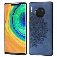 Voor Huawei mate 30 Pro reliëf Mandala patroon PC + TPU + stof telefoon geval met Lanyard & magnetische (blauw)