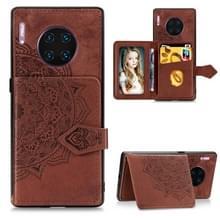 Voor Huawei mate 30 Pro Mandala reliëf doek Card Case mobiele telefoon geval met magnetische en beugel functie met kaart tas/portemonnee/foto frame functie met hand riem (bruin)