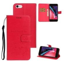 Voor iPhone 6Plus/6S plus Chai hond patroon horizontale Flip lederen cover met beugel & kaartsleuf & portemonnee & Lanyard (Rose rood)
