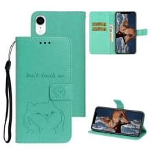Voor iPhone XR Chai hond patroon horizontale Flip lederen cover met beugel & kaartsleuf & portemonnee & Lanyard (groen)