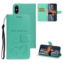Voor iPhone XS Chai hond patroon horizontale Flip lederen cover met beugel & kaartsleuf & portemonnee & Lanyard (groen)