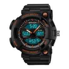 SANDA 766 horloge sport trend outdoor multi functionele dubbele weergave tijd horloge student waterdichte elektronische horloge mannelijk (oranje)