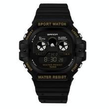 SANDA777 multi functie sport horloge horloge mannen en vrouwen kijken student Business waterdichte vierkante elektronische horloge (goud)