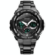 SANDA783 mannen grote Dial stalen band waterdichte elektronische horloge mode trend dubbele Toon mannen horloge persoonlijkheid Business Watch (zwart)