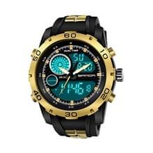 SANDA nieuwe waterdichte lichtgevende kunststof multi functionele horloge mannen outdoor sport LED elektronische horloge (goud)
