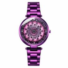 SANDA 1017 Lady Watch all over the Sky Star 360 graden roterende horloge Diamond stalen band vrouwen horloge (paars)