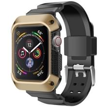 Voor Apple Watch 5 / 4 Generaties 44mm Universele geïntegreerde elektroplating strap (Goud + Zwart)