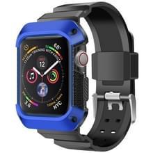Voor Apple Watch 5 / 4 Generaties 44mm Universele geïntegreerde elektroplating strap (Blauw + Zwart)