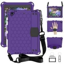 Voor iPad Air/Air2/Pro 9.7 honingraat ontwerp EVA + PC vierhoek anti Falling platte beschermende shell met bandjes (paars + zwart)