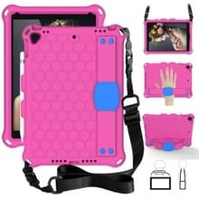Voor iPad 10.2 Honeycomb Design EVA + PC Four Corner Shockproof Protective Case met Straps (Rose Red)