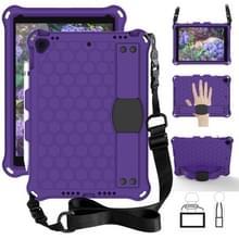 Voor iPad Air 2019 10 5 honingraat ontwerp EVA + PC vierhoek anti Falling platte beschermende shell met bandjes (paars + zwart)