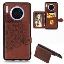 Voor Huawei mate 30 Mandala reliëf magnetische doek PU + TPU + PC geval met houder & kaartsleuven & portemonnee & foto frame & riem (bruin)